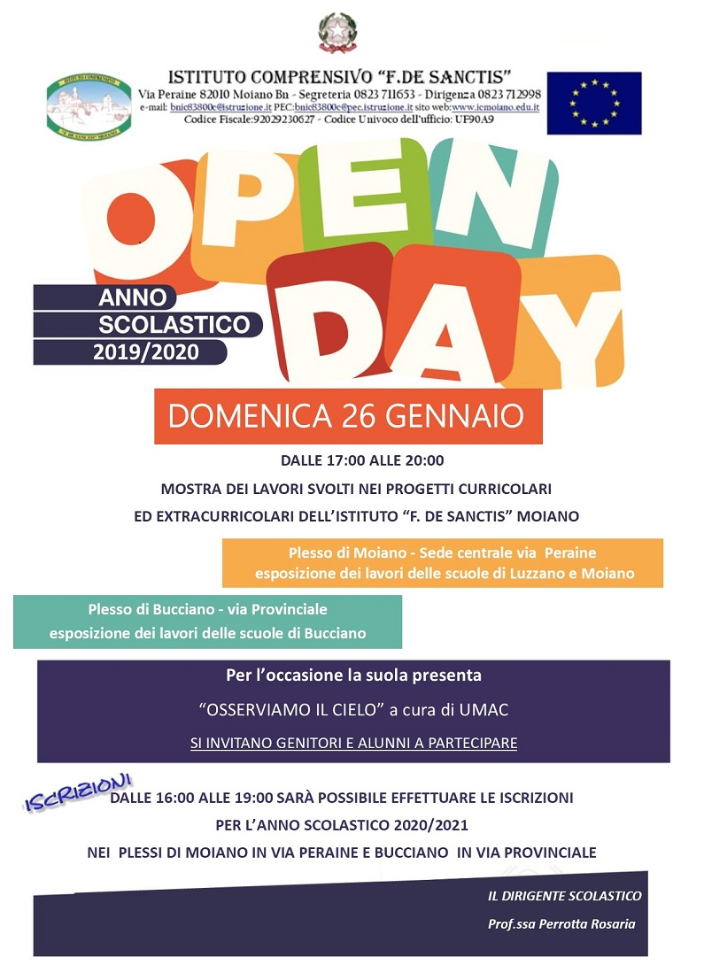 OPEN DAY IC Moiano2019- 2020